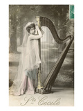 St Cecile Posing with Harp