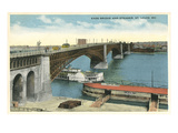 Eads Bridge and Riverboat  St Louis  Missouri