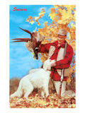 Success  Man with Dead Pheasant and Hunting Dog