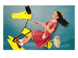 Girl on Abstract Rocking Horse  Retro