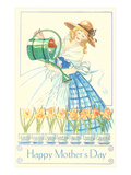Lady in Hoop Skirt Watering Daffodils  Mother's Day