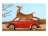 Giant Deer Tied on Volkswagen