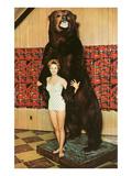 Lady with Bear  Retro