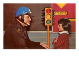Policeman Explaining Traffic Signal to Young Girl