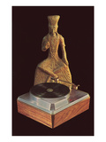 Turntable with Indian Sculpture  Retro