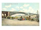 Wharf and Eads Bridge  St Louis  Missouri