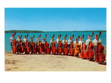 14 Double Bass Players at the Beach  Retro