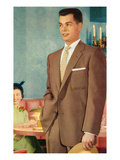 Young Man in Suit at Restaurant  Retro