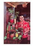 Tiki Man with Exotic Drinks  Retro