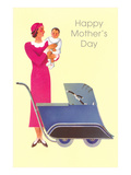 Happy Mothers Day  Art Deco Mom and Pram