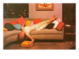 Woman Lounging on Couch  Retro