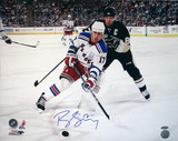 Brandon Dubinsky Rangers White Jersey Controlling The Puck