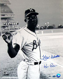 Hank Aaron Milwaukee Braves Uniform at Shea Stadium B&W Signed by Photographer Ken Regan