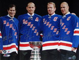 "Mark Messier / Brian Leetch / Adam Graves / Mike Richter Multi Signed with Cup w/ ""Years Insc"""