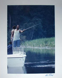 Ken Regan Signed Hank Aaron Fishing Autographed Photo (Hand Signed Collectable)