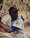 Hank Aaron Milwaukee Braves Color Vertical Close Up Signed by Photographer Ken Regan