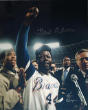 Hank Aaron One Arm Up w/ Ball in Hand Color Signed by Photographer Ken Regan