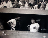 Yogi Berra w/ Elston Howard in Dugout B&amp;W (Signed by Regan) (MLB Auth)