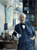 Thomas Edison (1847-1931) Photographed With His &#39;Edison Effect&#39; Lamps in 1915