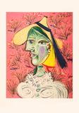Femme au Chapeau de Paille Sur Fond Fleuri