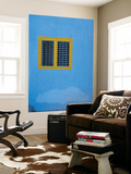 Yellow Window on Blue Wall