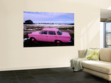 Pink Mercedes Car in Snow-Capped Area  Somme Region