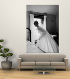 Bride Prepares For Wedding  in Traditional White Gown  19th Century Wedding Dress