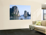 Halong Bay  Karst Limestone Rocks  House Boats  Vietnam