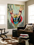 Marvel Comics Retro: Mighty Thor Comic Panel  Flying (aged)
