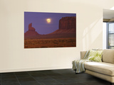 Moon Shining over Rock Formations  Monument Valley Tribal Park  Arizona  USA