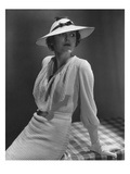 Vogue - January 1935 - Model in White Knit Dress