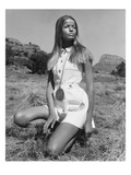 Vogue - June 1968 - Veruschka Kneeling in the Desert