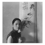 Vogue - July 1945 - Chinese Woman Beside Painted Scroll