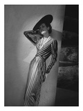 Vogue - March 1938 - Vertical Striped Dress by Lelong