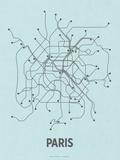Paris (Light Blue & Dark Gray) Sérigraphie par LinePosters