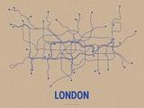 London (Oatmeal & Blue) Sérigraphie par LinePosters