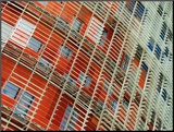 Facade Detail of the Torre Agbar  Barcelona  Catalonia  Spain