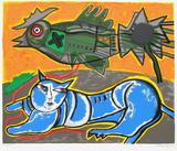 Le Grand Chat Bleu Et L'Oiseau
