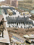 Police Officers Dispersing the Strike of Employees of Streetcar in New York  Usa  March 4  1886