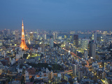 Sunset Aerial of Downtown Including Tokyo Tower and Rainbow Bridge  Tokyo  Japan