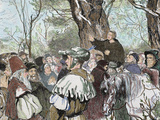 German Reformer  Luther&#39;s Preaching to the Crowd in Moera Colored Engraving from 1882