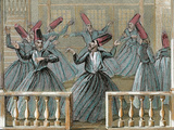 Dance of the Sufi Dervishes  19th Century Colored Engraving