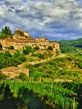 The Village of Montefioralle Overlooks the Tuscan Hills around Greve  Tuscany  Italy
