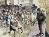 Needy Kids Going to the Distribution of Food in Vestryhall 'The Spanish and American Illustration'