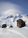 Mount Rainier with Lenticular Cloud over Summit  Mount Rainier National Park  Washington  Usa