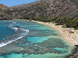 Aerial of Hanauma Bay Reef Snorkelers Near Oahu  Hawaii
