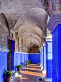 Graceful Archways of Monasterio Santa Catalina in the White City of Arequipa  Peru
