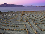 Lands End Labyrinth at Dusk with the Golden Gate Bridge  San Francisco  California