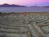 Lands End Labyrinth at Dusk with the Golden Gate Bridge  San Francisco  California