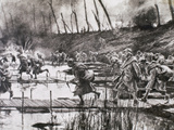 First World War (1914-1918) French Army Crosses the River Isere on Improvised Gateways